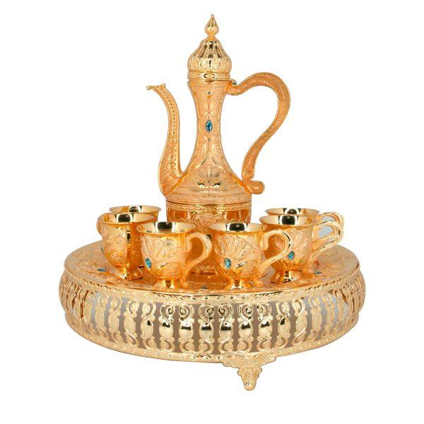 GP-02-1401-Aftaba Set Gold Plated Design Dubai Brass Al Jaber Attractive