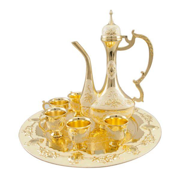 Aftaba golden beige white met,g plated h26cm x l31cm x w31cm Al Jaber Gifts