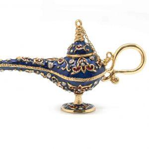 Aladdin Lampl r,b,g,bro,w, white met,g plated h9cm x l15.5cm x w5.5cm Al Jaber Gifts