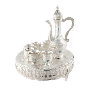 Aftaba silver white met,s plated h28.5cm x l24.5cm x w24.5cm Al Jaber Gifts