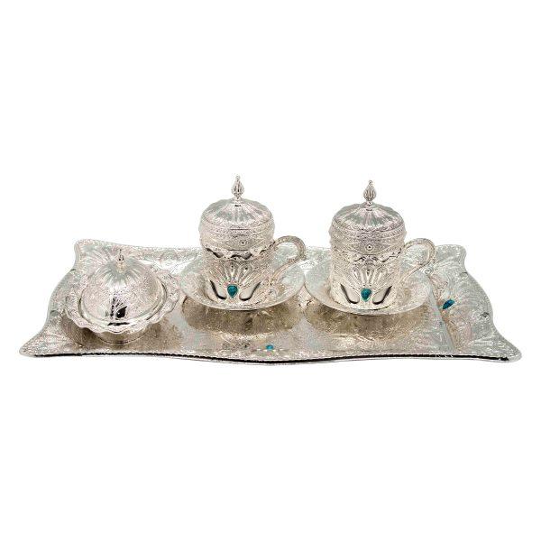 Tea Set silver white met,s plated h10cm x l43cm x w8.5cm Al Jaber Gifts